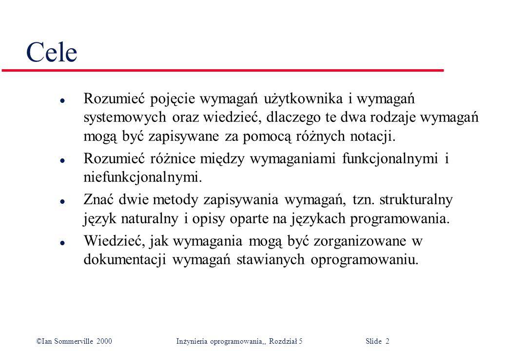 ©Ian Sommerville 2000 Inżynieria oprogramowania,, Rozdział 5 Slide 3 Zawartość l Wymagania funkcjonalne i niefunkcjonalne l Wymagania użytkownika l Wymagania systemowe l Dokumentacja wymagań stawianych oprogramowaniu