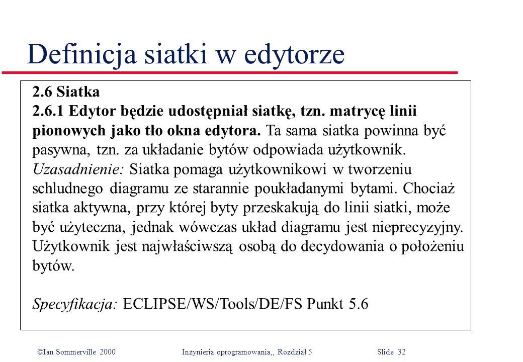 ©Ian Sommerville 2000 Inżynieria oprogramowania,, Rozdział 5 Slide 32 Definicja siatki w edytorze 2.6 Siatka 2.6.1 Edytor będzie udostępniał siatkę, t