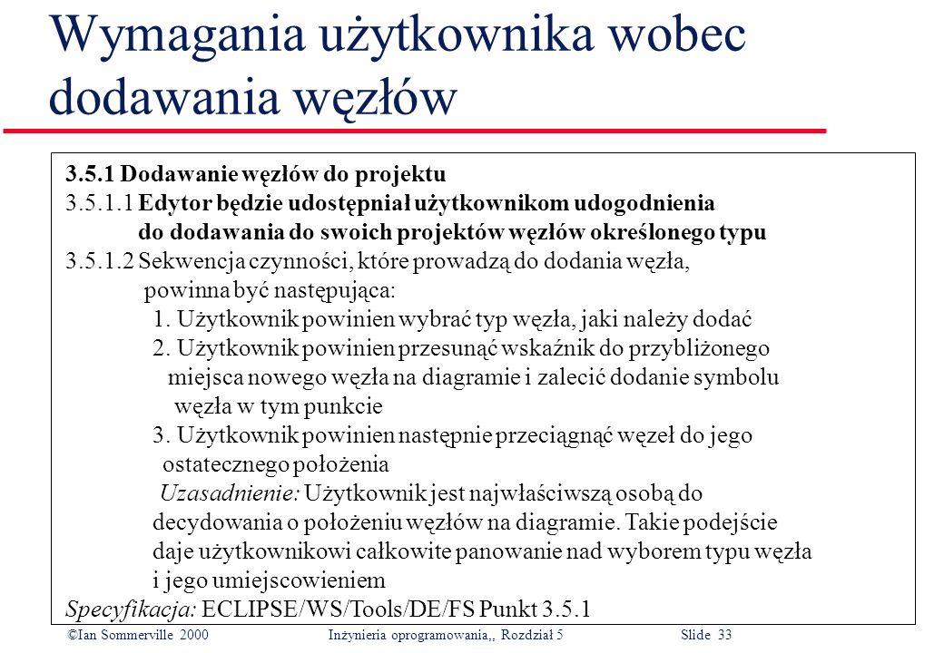 ©Ian Sommerville 2000 Inżynieria oprogramowania,, Rozdział 5 Slide 33 Wymagania użytkownika wobec dodawania węzłów 3.5.1 Dodawanie węzłów do projektu
