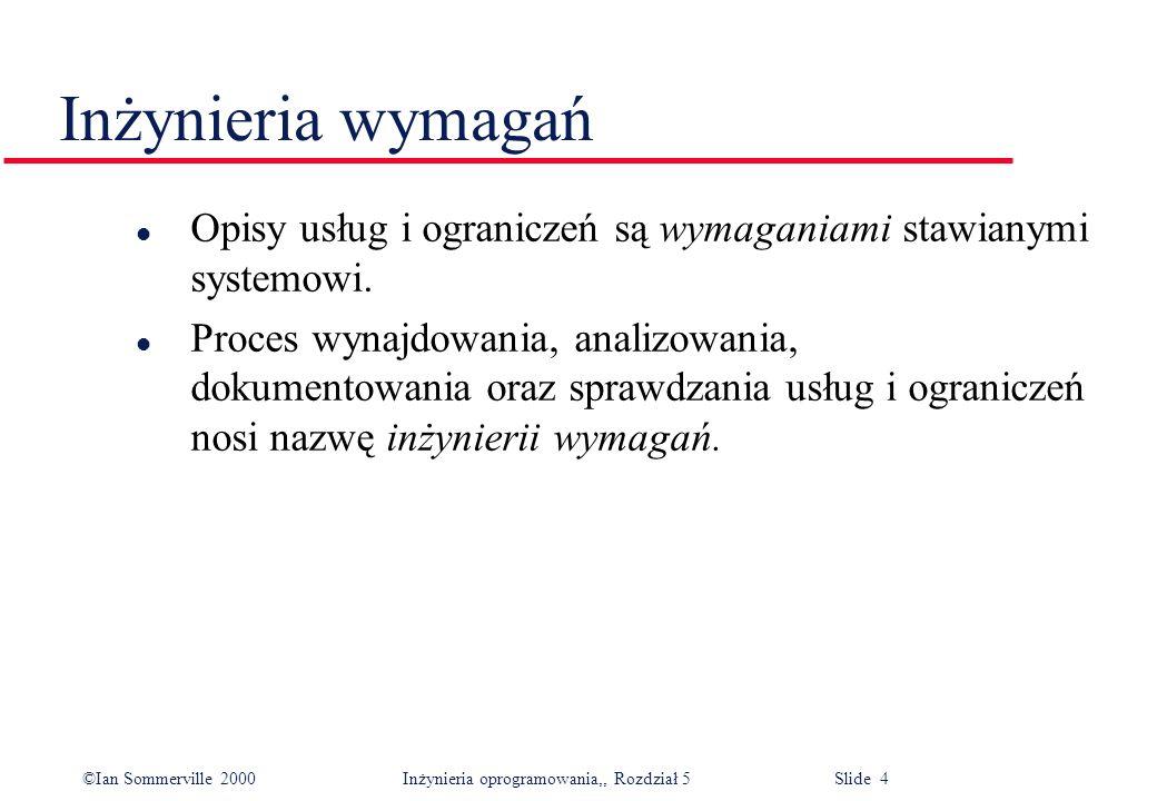©Ian Sommerville 2000 Inżynieria oprogramowania,, Rozdział 5 Slide 35 Wymagania systemowe l Wymagania systemowe są bardziej szczegółowymi opisami wymagań użytkownika.