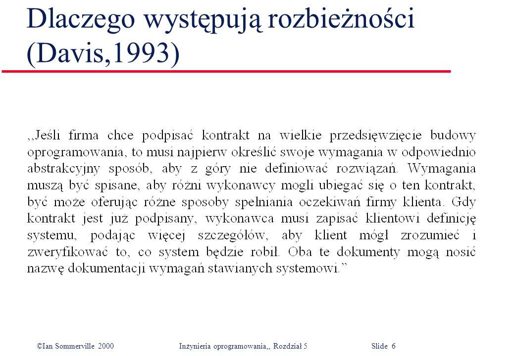 ©Ian Sommerville 2000 Inżynieria oprogramowania,, Rozdział 5 Slide 37 Zapis wymagań systemowych w języku naturalnym l Niejednoznaczność języka naturalnego prowadzi do nieporozumień.