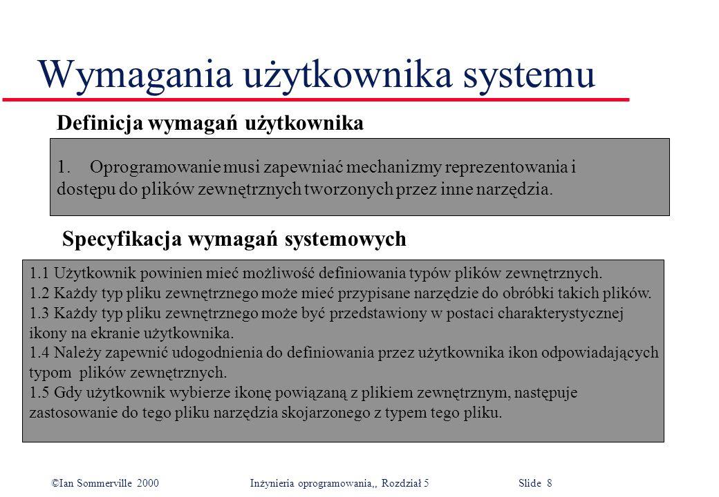 ©Ian Sommerville 2000 Inżynieria oprogramowania,, Rozdział 5 Slide 8 Wymagania użytkownika systemu Definicja wymagań użytkownika 1.Oprogramowanie musi