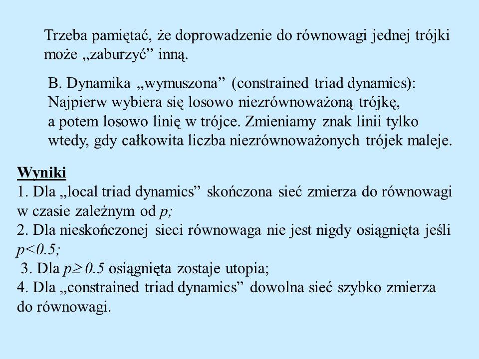 Trzeba pamiętać, że doprowadzenie do równowagi jednej trójki może zaburzyć inną. B. Dynamika wymuszona (constrained triad dynamics): Najpierw wybiera