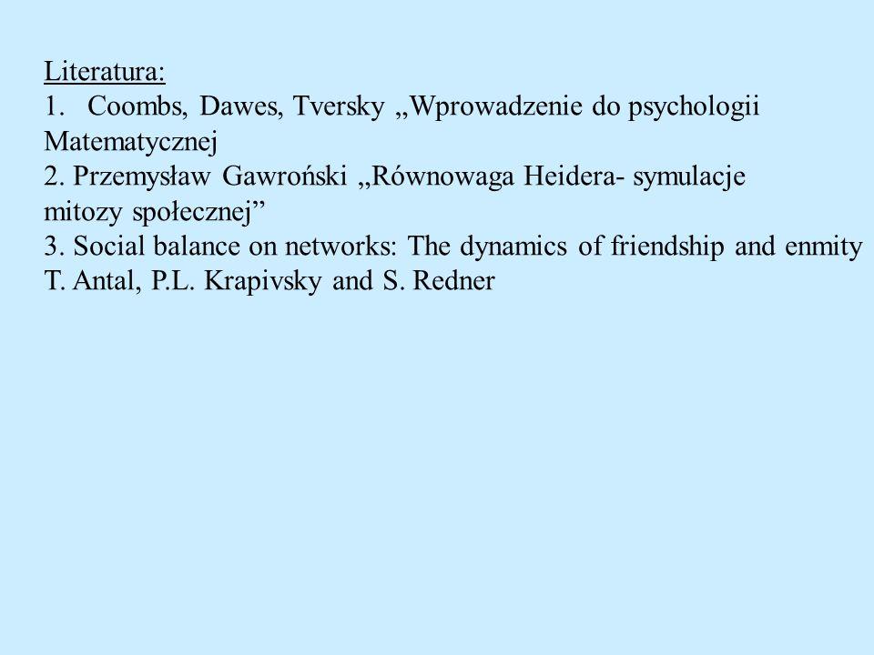 Literatura: 1.Coombs, Dawes, Tversky Wprowadzenie do psychologii Matematycznej 2. Przemysław Gawroński Równowaga Heidera- symulacje mitozy społecznej