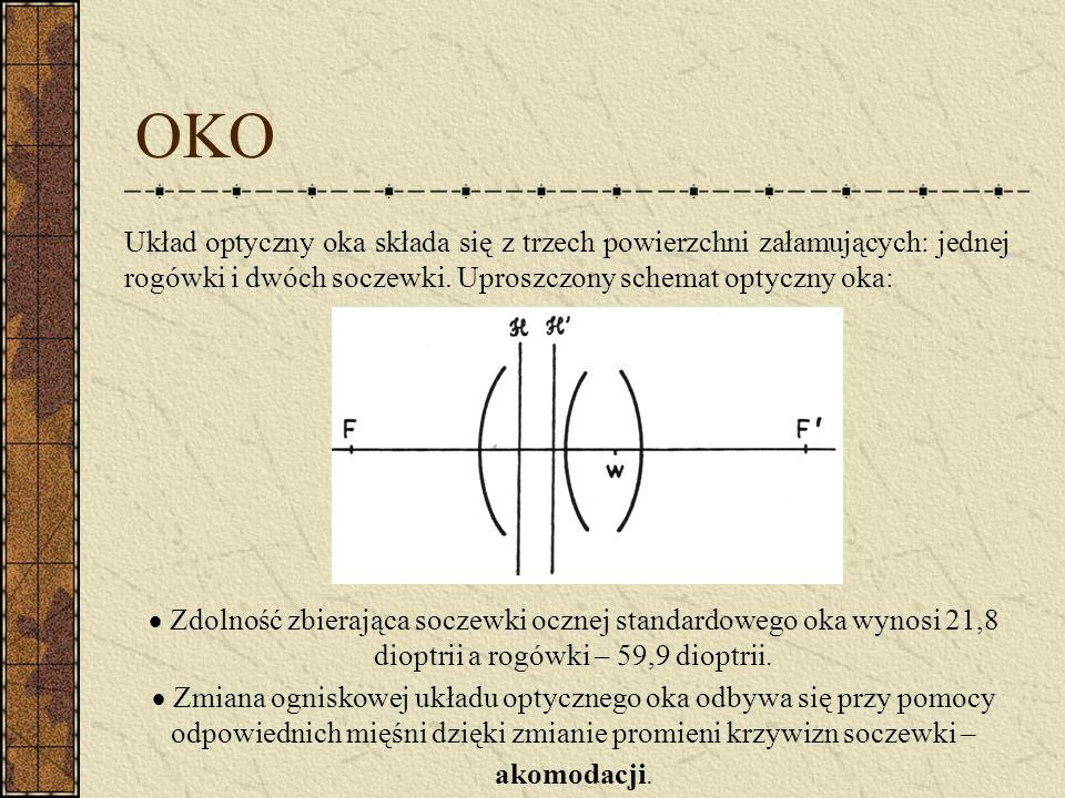 OKO Układ optyczny oka składa się z trzech powierzchni załamujących: jednej rogówki i dwóch soczewki. Uproszczony schemat optyczny oka: Zdolność zbier