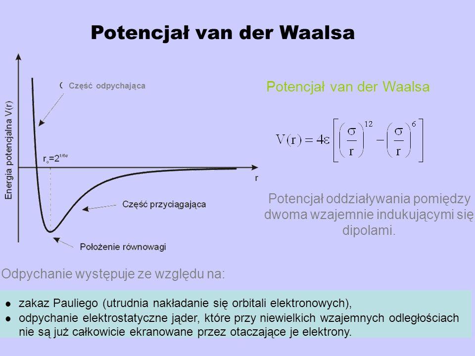Potencjał van der Waalsa Potencjał oddziaływania pomiędzy dwoma wzajemnie indukującymi się dipolami. zakaz Pauliego (utrudnia nakładanie się orbitali