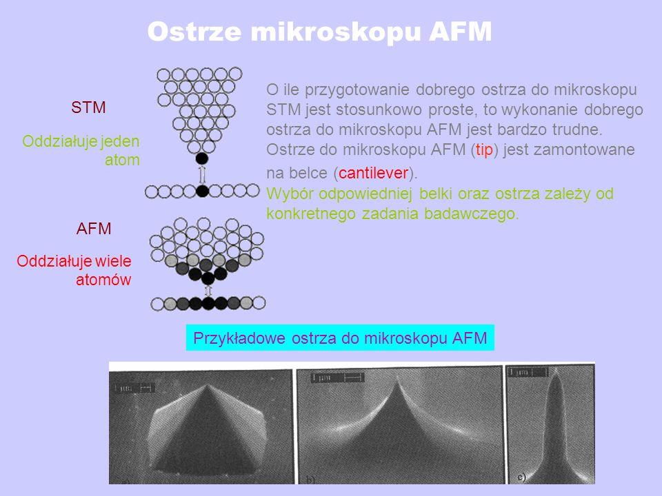 Ostrze mikroskopu AFM O ile przygotowanie dobrego ostrza do mikroskopu STM jest stosunkowo proste, to wykonanie dobrego ostrza do mikroskopu AFM jest