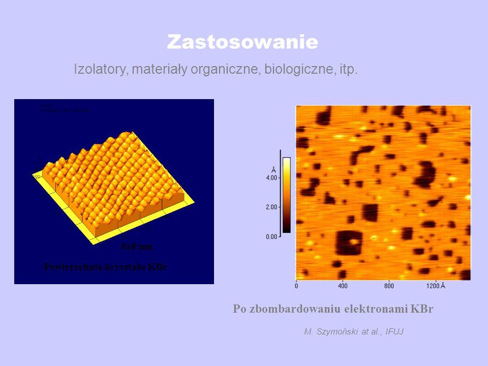 Zastosowanie Powierzchnia kryształu KBr 8x8 nm M. Szymoński at al., IFUJ Izolatory, materiały organiczne, biologiczne, itp. Po zbombardowaniu elektron