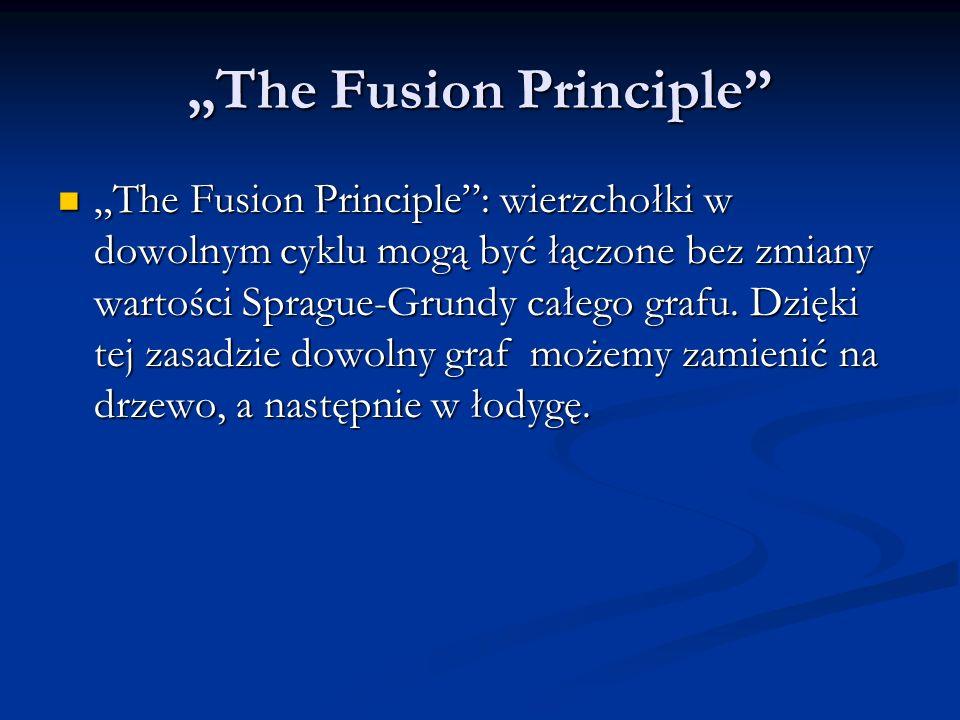 The Fusion Principle The Fusion Principle: wierzchołki w dowolnym cyklu mogą być łączone bez zmiany wartości Sprague-Grundy całego grafu. Dzięki tej z