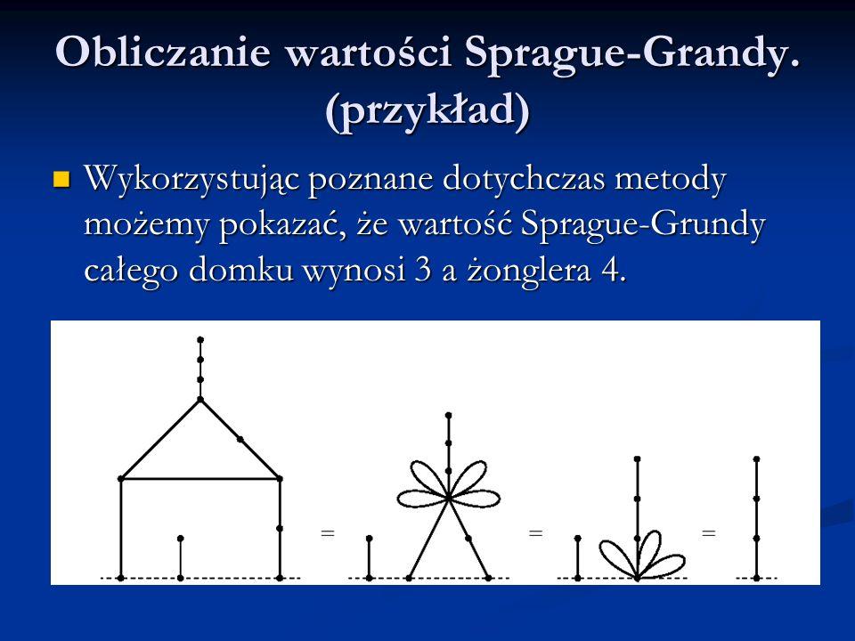 Obliczanie wartości Sprague-Grandy. (przykład) Wykorzystując poznane dotychczas metody możemy pokazać, że wartość Sprague-Grundy całego domku wynosi 3