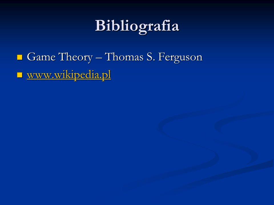 Bibliografia Game Theory – Thomas S. Ferguson Game Theory – Thomas S. Ferguson www.wikipedia.pl www.wikipedia.pl www.wikipedia.pl