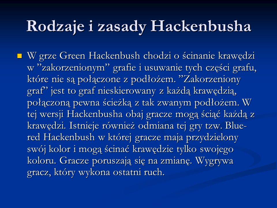 Rodzaje i zasady Hackenbusha W grze Green Hackenbush chodzi o ścinanie krawędzi w zakorzenionym grafie i usuwanie tych części grafu, które nie są połą