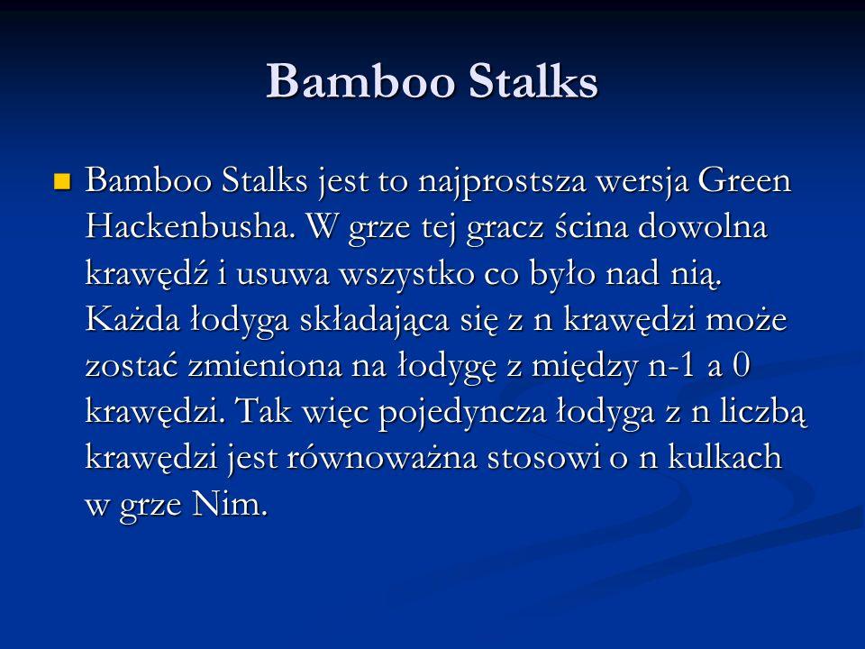 Bamboo Stalks Bamboo Stalks jest to najprostsza wersja Green Hackenbusha. W grze tej gracz ścina dowolna krawędź i usuwa wszystko co było nad nią. Każ