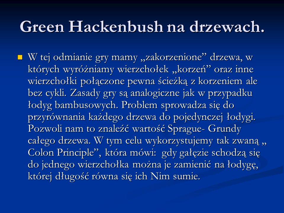 Green Hackenbush na drzewach. W tej odmianie gry mamy zakorzenione drzewa, w których wyróżniamy wierzchołek korzeń oraz inne wierzchołki połączone pew