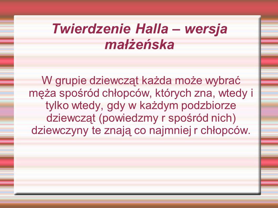 Twierdzenie Halla – wersja małżeńska W grupie dziewcząt każda może wybrać męża spośród chłopców, których zna, wtedy i tylko wtedy, gdy w każdym podzbi