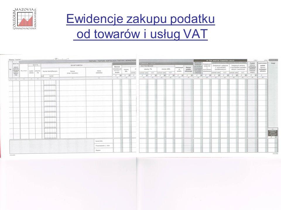 Ewidencje zakupu podatku od towarów i usług VAT