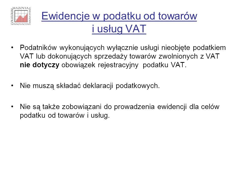 Ewidencje w podatku od towarów i usług VAT Podatników wykonujących wyłącznie usługi nieobjęte podatkiem VAT lub dokonujących sprzedaży towarów zwolnio