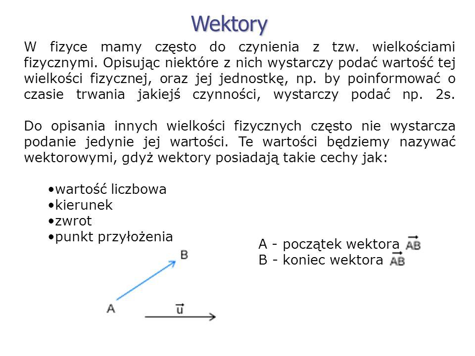 W fizyce mamy często do czynienia z tzw. wielkościami fizycznymi. Opisując niektóre z nich wystarczy podać wartość tej wielkości fizycznej, oraz jej j