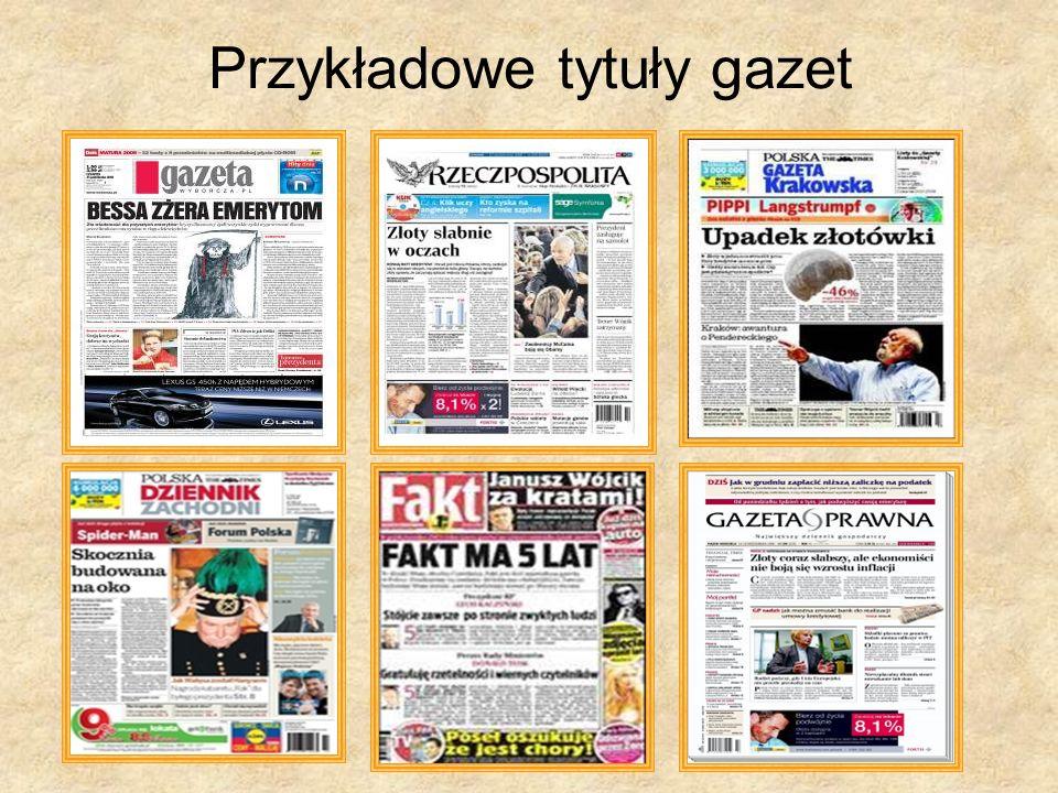 Przykładowe tytuły gazet