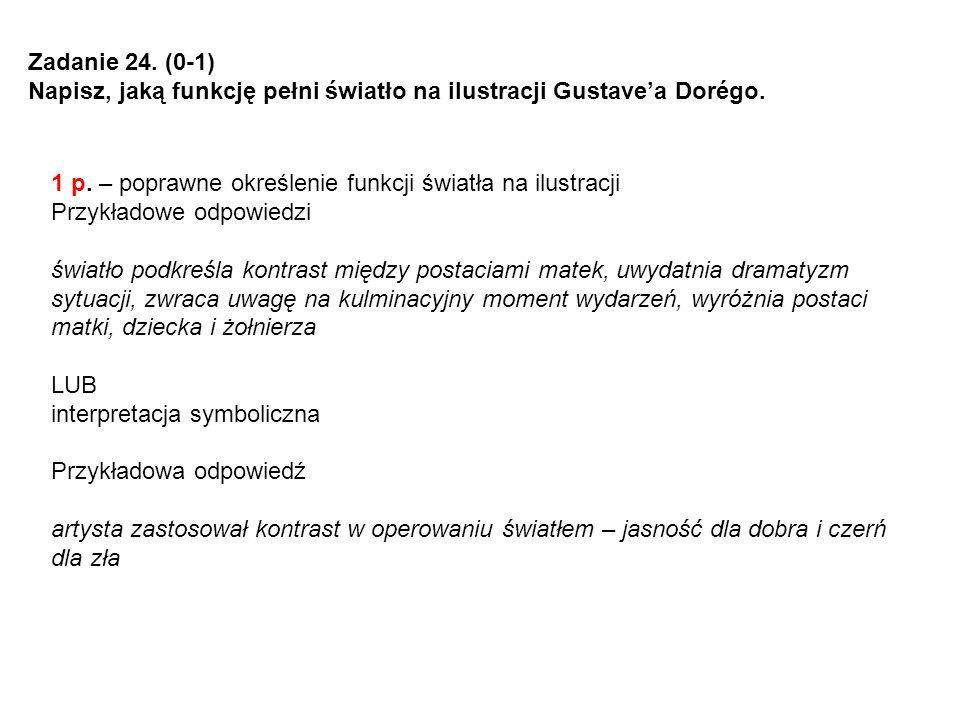 Zadanie 24. (0-1) Napisz, jaką funkcję pełni światło na ilustracji Gustavea Dorégo. 1 p. – poprawne określenie funkcji światła na ilustracji Przykłado