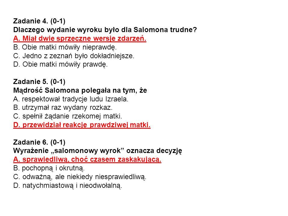 1 p.– przekształcenie tekstu w mowę zależną Przykładowa odpowiedź Ale co mógł uczynić.
