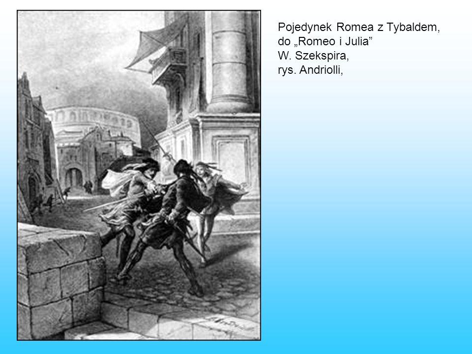 Pojedynek Romea z Tybaldem, do Romeo i Julia W. Szekspira, rys. Andriolli,