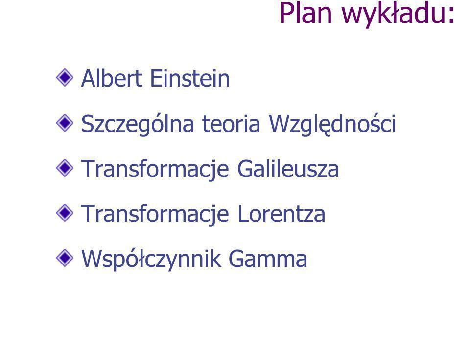 Albert Einstein Szczególna teoria Względności Transformacje Galileusza Transformacje Lorentza Współczynnik Gamma Plan wykładu: