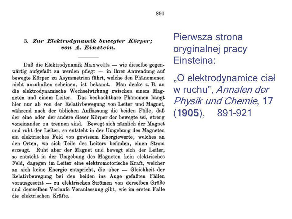Pierwsza strona oryginalnej pracy Einsteina: 1905 O elektrodynamice ciał w ruchu, Annalen der Physik und Chemie, 17 (1905), 891-921
