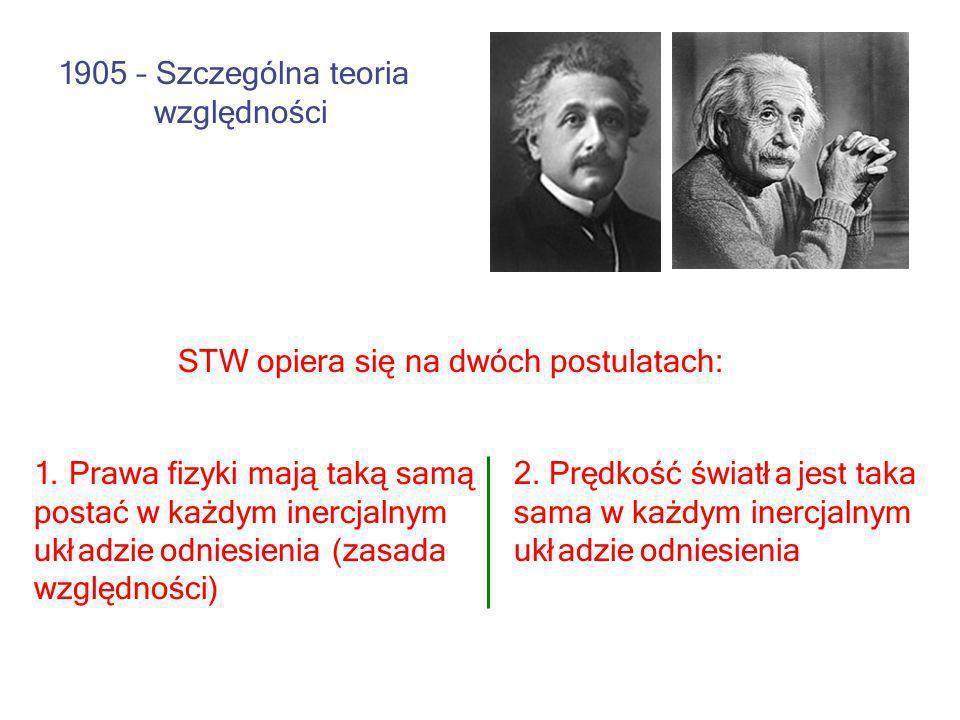 1. Prawa fizyki mają taką samą postać w każdym inercjalnym układzie odniesienia (zasada względności) 2. Prędkość światła jest taka sama w każdym inerc