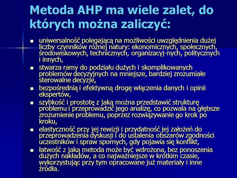 Metoda AHP ma wiele zalet, do których można zaliczyć: uniwersalność polegającą na możliwości uwzględnienia dużej liczby czynników różnej natury: ekono
