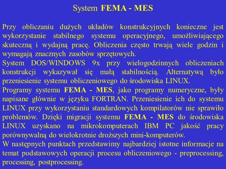 System FEMA - MES Przy obliczaniu dużych układów konstrukcyjnych konieczne jest wykorzystanie stabilnego systemu operacyjnego, umożliwiającego skutecz