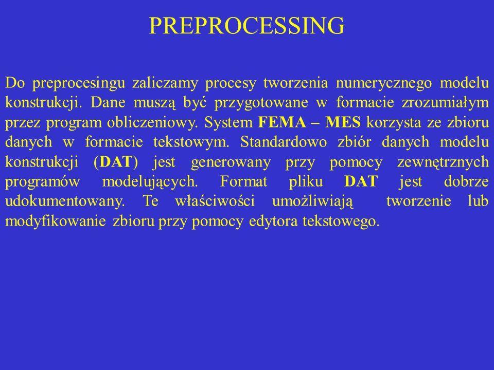 PREPROCESSING Do preprocesingu zaliczamy procesy tworzenia numerycznego modelu konstrukcji. Dane muszą być przygotowane w formacie zrozumiałym przez p