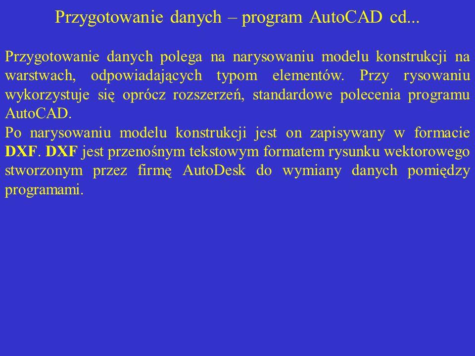 Przygotowanie danych – program AutoCAD cd... Przygotowanie danych polega na narysowaniu modelu konstrukcji na warstwach, odpowiadających typom element