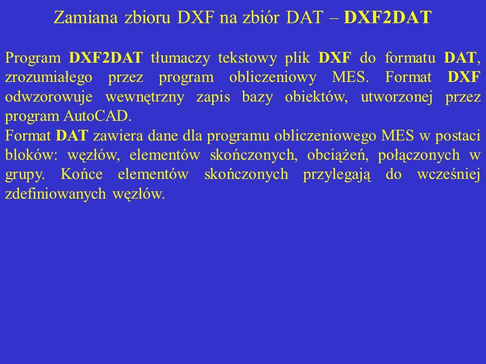 Zamiana zbioru DXF na zbiór DAT – DXF2DAT Program DXF2DAT tłumaczy tekstowy plik DXF do formatu DAT, zrozumiałego przez program obliczeniowy MES. Form