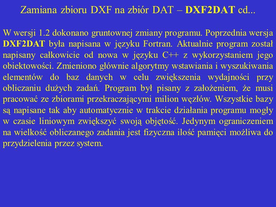 Zamiana zbioru DXF na zbiór DAT – DXF2DAT cd... W wersji 1.2 dokonano gruntownej zmiany programu. Poprzednia wersja DXF2DAT była napisana w języku For