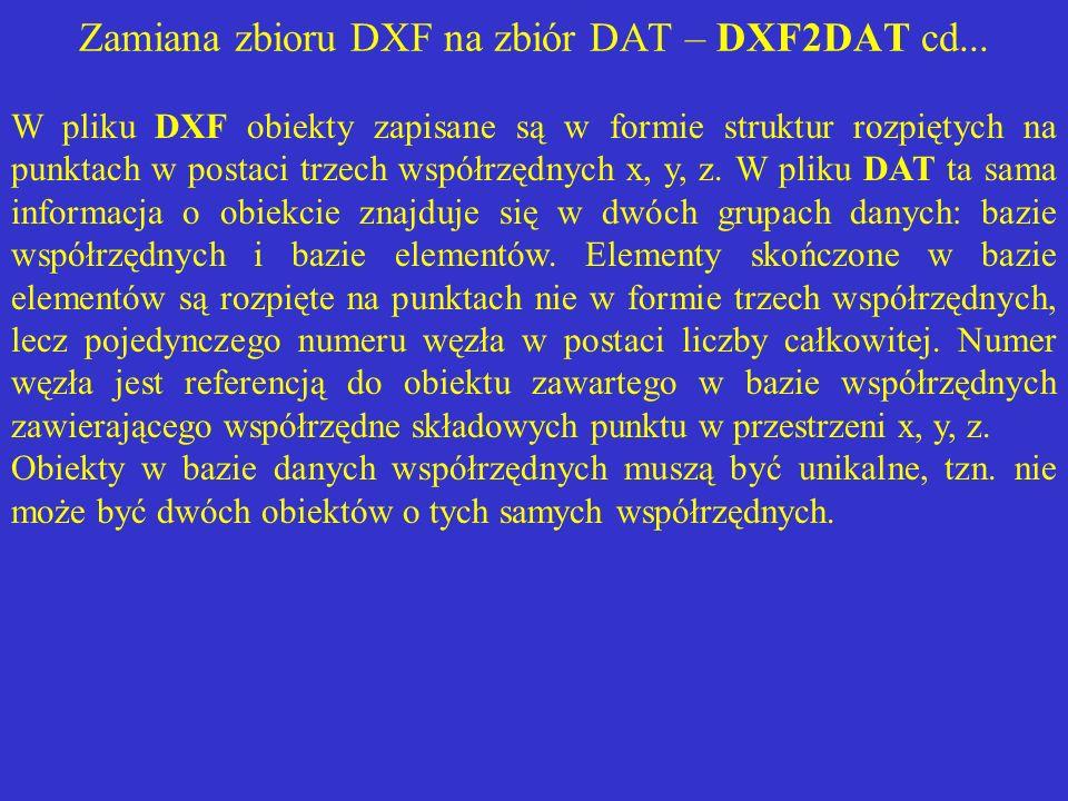 Zamiana zbioru DXF na zbiór DAT – DXF2DAT cd... W pliku DXF obiekty zapisane są w formie struktur rozpiętych na punktach w postaci trzech współrzędnyc