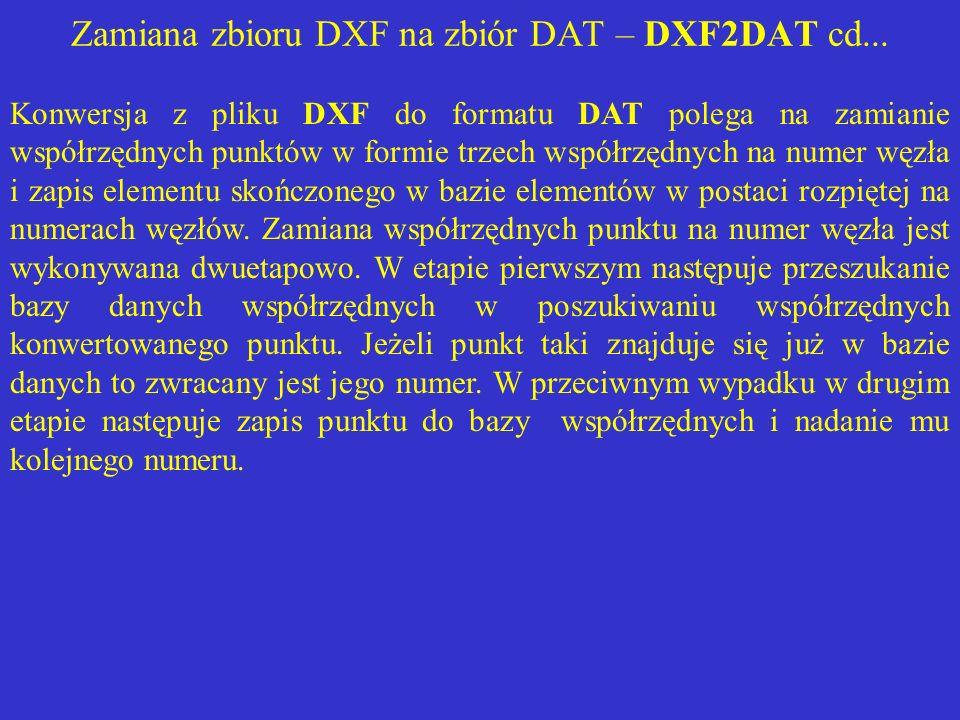 Zamiana zbioru DXF na zbiór DAT – DXF2DAT cd... Konwersja z pliku DXF do formatu DAT polega na zamianie współrzędnych punktów w formie trzech współrzę
