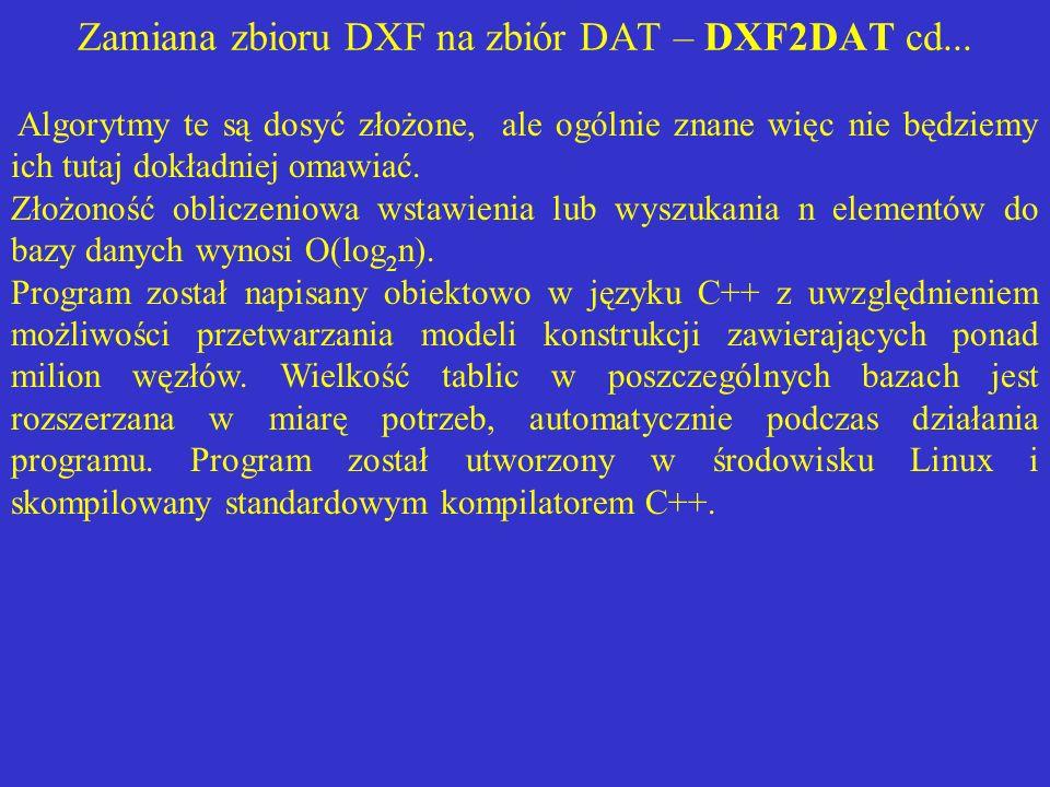 Zamiana zbioru DXF na zbiór DAT – DXF2DAT cd... Algorytmy te są dosyć złożone, ale ogólnie znane więc nie będziemy ich tutaj dokładniej omawiać. Złożo