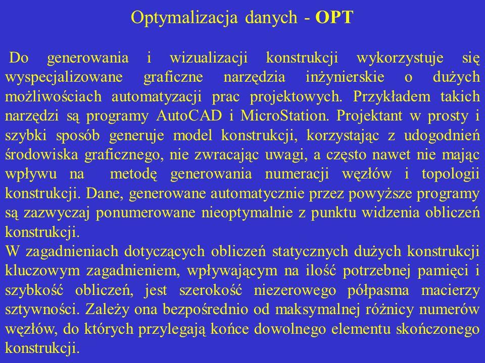 Optymalizacja danych - OPT Do generowania i wizualizacji konstrukcji wykorzystuje się wyspecjalizowane graficzne narzędzia inżynierskie o dużych możli