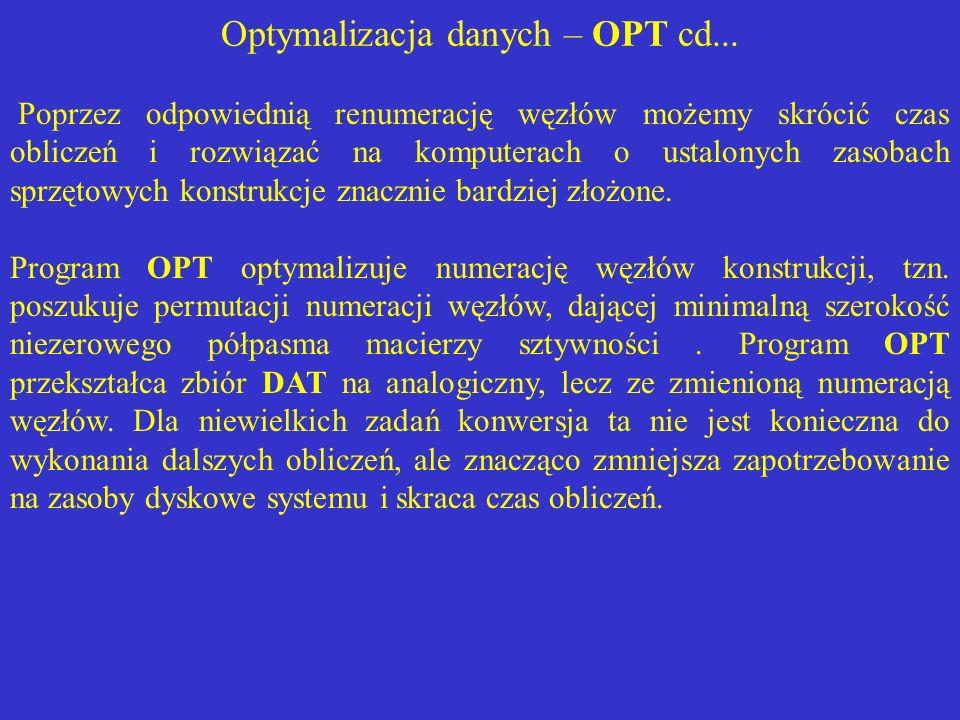 Optymalizacja danych – OPT cd... Poprzez odpowiednią renumerację węzłów możemy skrócić czas obliczeń i rozwiązać na komputerach o ustalonych zasobach