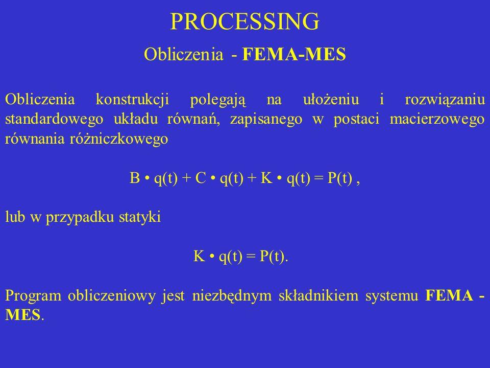 PROCESSING Obliczenia konstrukcji polegają na ułożeniu i rozwiązaniu standardowego układu równań, zapisanego w postaci macierzowego równania różniczko