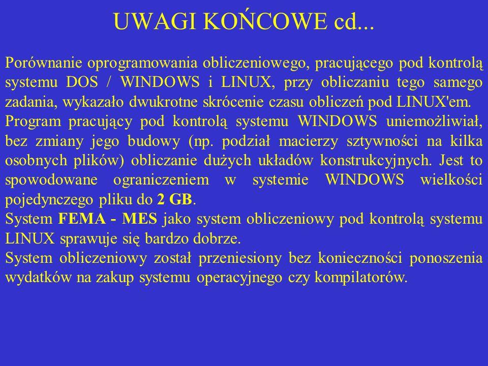 UWAGI KOŃCOWE cd... Porównanie oprogramowania obliczeniowego, pracującego pod kontrolą systemu DOS / WINDOWS i LINUX, przy obliczaniu tego samego zada