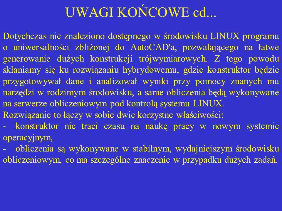 UWAGI KOŃCOWE cd... Dotychczas nie znaleziono dostępnego w środowisku LINUX programu o uniwersalności zbliżonej do AutoCAD'a, pozwalającego na łatwe g