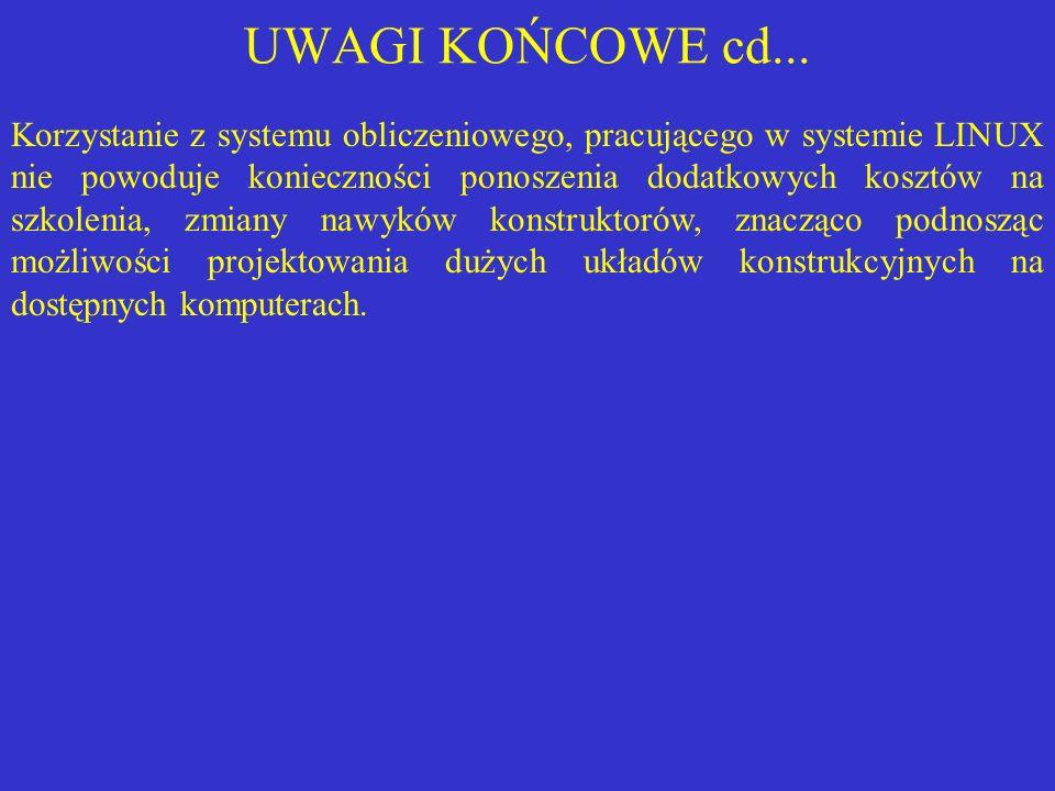 UWAGI KOŃCOWE cd... Korzystanie z systemu obliczeniowego, pracującego w systemie LINUX nie powoduje konieczności ponoszenia dodatkowych kosztów na szk