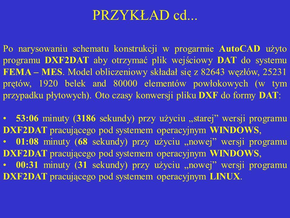 PRZYKŁAD cd... Po narysowaniu schematu konstrukcji w progarmie AutoCAD użyto programu DXF2DAT aby otrzymać plik wejściowy DAT do systemu FEMA – MES. M