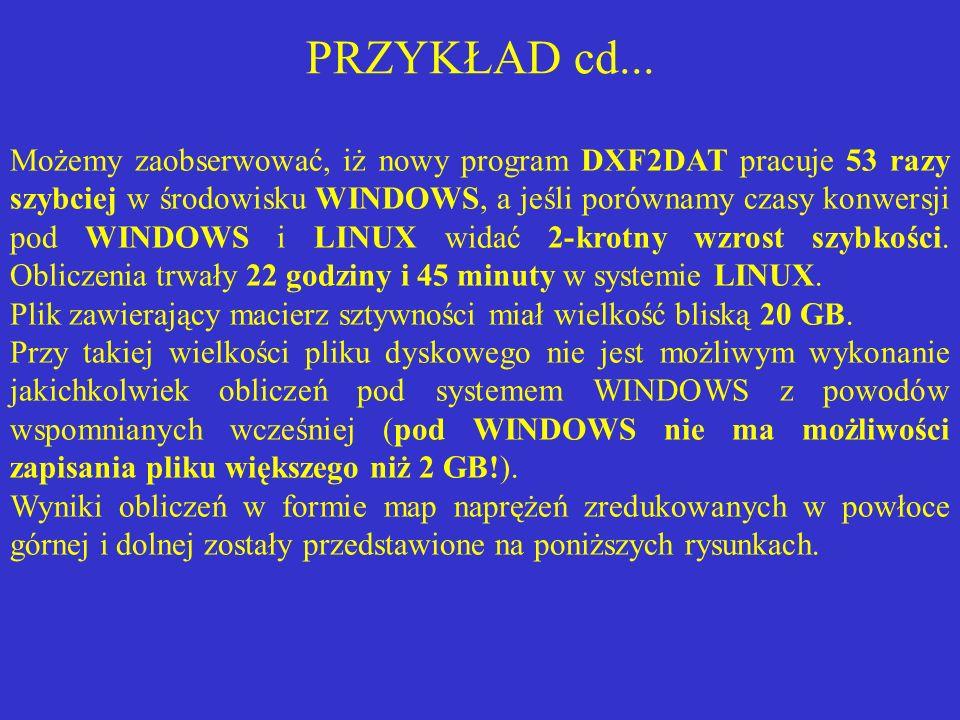 PRZYKŁAD cd... Możemy zaobserwować, iż nowy program DXF2DAT pracuje 53 razy szybciej w środowisku WINDOWS, a jeśli porównamy czasy konwersji pod WINDO
