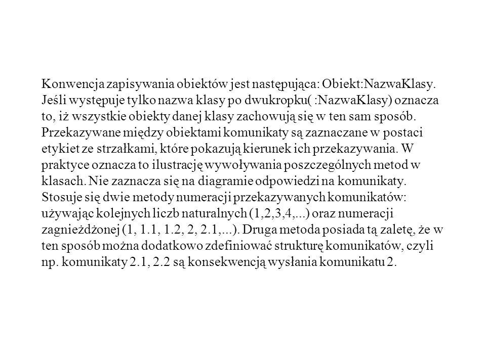 Konwencja zapisywania obiektów jest następująca: Obiekt:NazwaKlasy. Jeśli występuje tylko nazwa klasy po dwukropku( :NazwaKlasy) oznacza to, iż wszyst