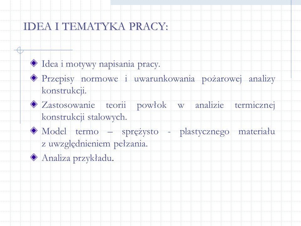 IDEA I TEMATYKA PRACY: Idea i motywy napisania pracy. Przepisy normowe i uwarunkowania pożarowej analizy konstrukcji. Zastosowanie teorii powłok w ana