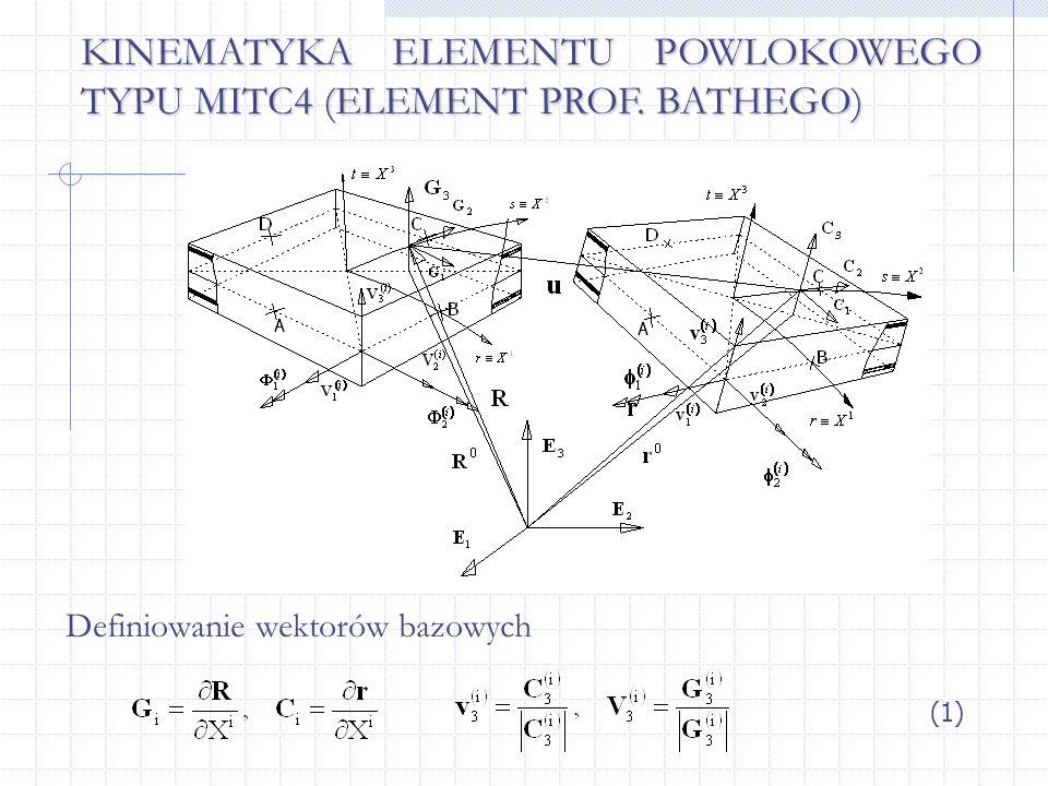 KINEMATYKA ELEMENTU POWLOKOWEGO TYPU MITC4 (ELEMENT PROF. BATHEGO) Definiowanie wektorów bazowych (1)
