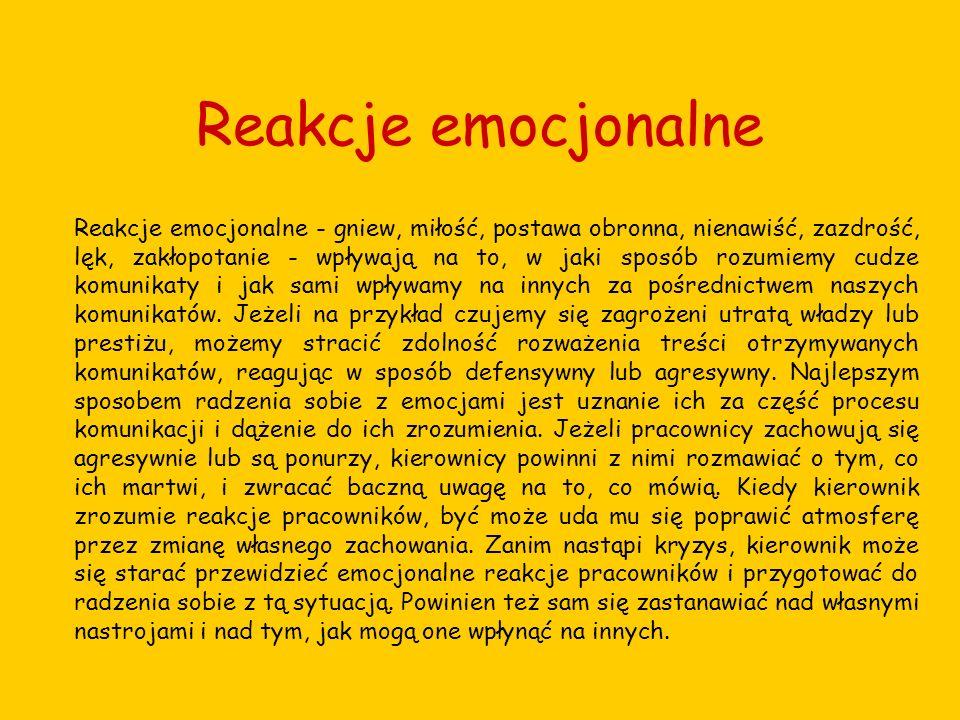 Reakcje emocjonalne Reakcje emocjonalne - gniew, miłość, postawa obronna, nienawiść, zazdrość, lęk, zakłopotanie - wpływają na to, w jaki sposób rozum